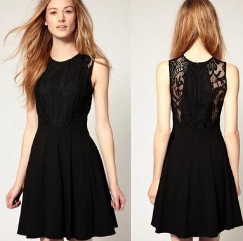 60. Рекомендуемая Хепберн классический черный юбка кружева талия была тонкой платье платье моды. 3. Штука